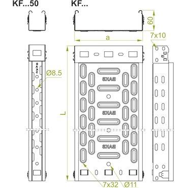Korytko kablowe perforowane 50x60mm 0,7mm KFL50H60/2 160923 /2m/