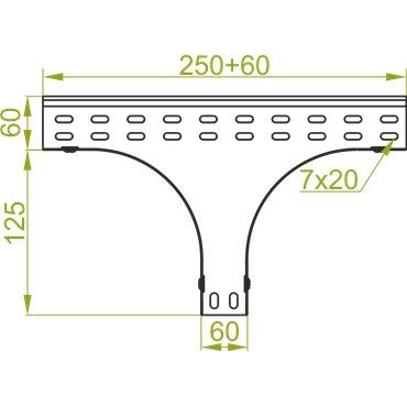 Trójnik redukcyjny symetryczny 200x60mm TRSP200H60 165420