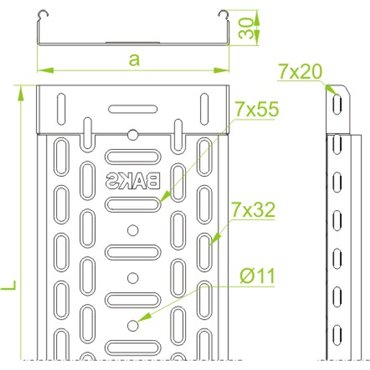 Korytko kablowe perforowane 200x30 grubość 0,5mm KGR200H30/2 131117 /2m/