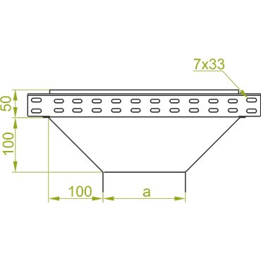 Trójnik redukcyjny korytka 50x50mm TRJ50H50 158605
