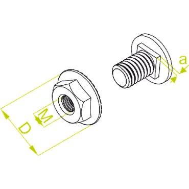 Śruba z łbem grzybkowym z nakrętką kołnierzową ząbkowaną SGKFM10x20 651641 /100szt./
