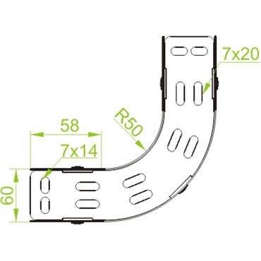 Łuk korytek kablowych 90 st. 100x60mm  LUJ100H60 167010