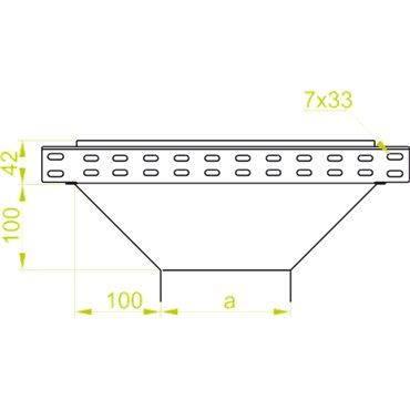 Trójnik redukcyjny korytka 100x42mm TRJ100H42 147810