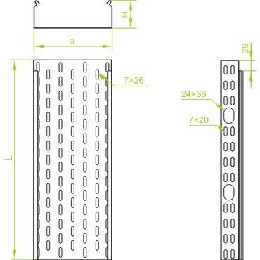Korytko kablowe cynkowane perforowane 150x60mm 1mm KOJ150H60/3 N 161615 /3m/