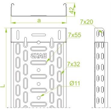 Korytko kablowe perforowane 100x42 grubość 0,5mm KGR100H42/2 141517 /2m/
