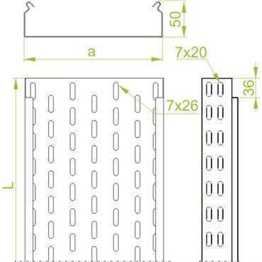 Korytko kablowe cynkowane perforowane 100x 50mm 3m 1mm KCJ100H50/3N 151010