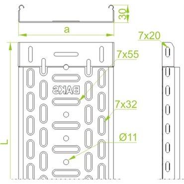 Korytko kablowe perforowane 35x30 grubość 0,7mm KGL/KPL35H30/3 130403 /3m/