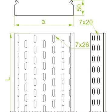 Korytko kablowe cynkowane perforowane 100x 50mm 3m 1,5mm KCP100H50/3N 151410