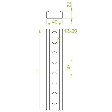 Ceownik wzmocniony CWP 40H22/3 1,5mm 610230