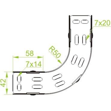 Łuk korytka 90 stopni 100x42mm 1mm LUJ100H42 146510