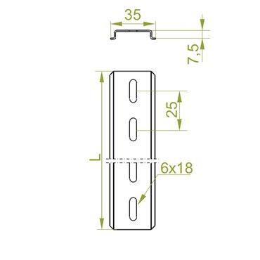Szyna montażowa 35x7x2000mm stal perforowana SZP35H7/2 613120