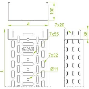Korytko kablowe perforowane 200x100 grubość 0,7mm KGL200H100/3 110316 /3m/