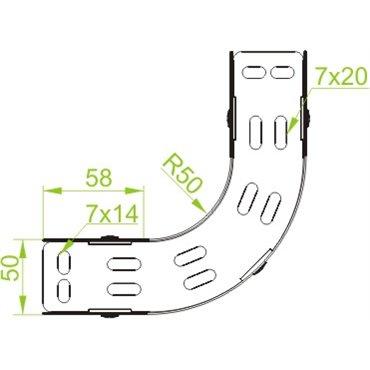 Łuk korytka 90° 300x50 LUP300H50 153630