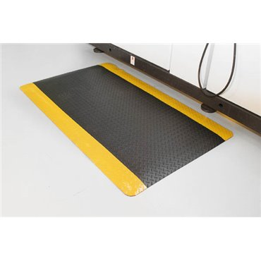 Mata antyzmęczeniowa Deckplate Safety Czarna/Żółte krawędzie 0.9m x 1.5m