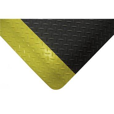 Mata antyzmęczeniowa Deckplate Safety Czarna/Żółte krawędzie 0.9m x mb.