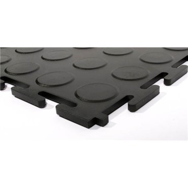 Płytka podłogowa PCV Tough-Lock ECO Czarna 0.5m (5mm) - zestaw 4 sztuk - Krawędź/Narożnik