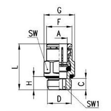 Szybkozłącze wtykowe proste 6512, przewód 8mm, gwint 3/8