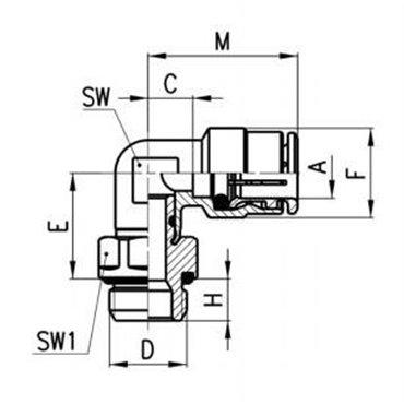 Szybkozłącze wtykowe kątowe 6522, przewód 12mm, gwint 1/4