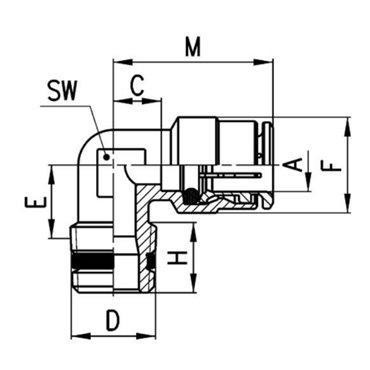 Szybkozłącze wtykowe kątowe S6500, przewód 4mm, gwint 1/4