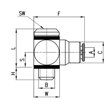 Szybkozłącze wtykowe kątowe Micro 6621, przewód 3mm, gwint M3