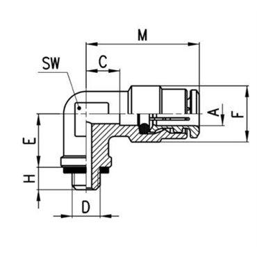 Szybkozłącze wtykowe, trójnik T S6430, przewód 12mm, gwint 1/2