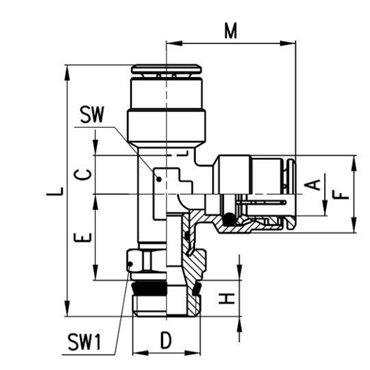 Szybkozłącze wtykowe, trójnik kątowy S6440, przewód 4mm, gwint 1/8