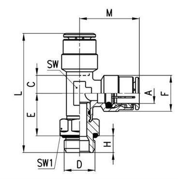 Szybkozłącze wtykowe, trójnik kątowy 6442, przewód 6mm, gwint 1/8