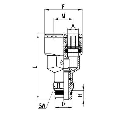 Szybkozłącze wtykowe, trójnik Y S6450, przewód 4mm, gwint 1/8
