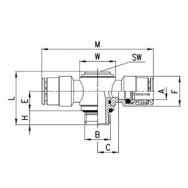 Szybkozłącze wtykowe przelotowe 6632, przewód 10mm, gwint 1/4