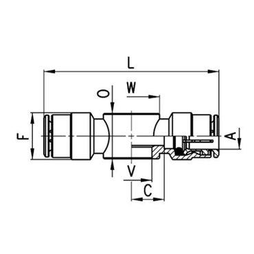 Szybkozłącze wtykowe przelotowe 6620, przewód 6mm, gwint 1/8