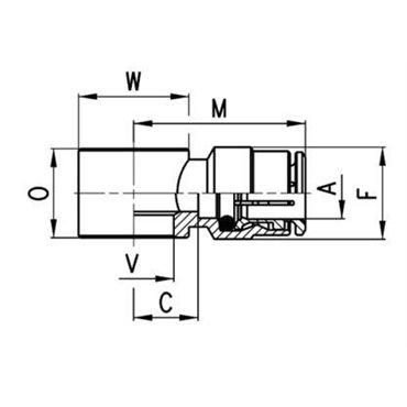Szybkozłącze wtykowe proste 6610, przewód 4mm, gwint M6