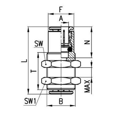 Szybkozłącze wtykowe tablicowe 6590, przewód 6mm, gwint M14x1