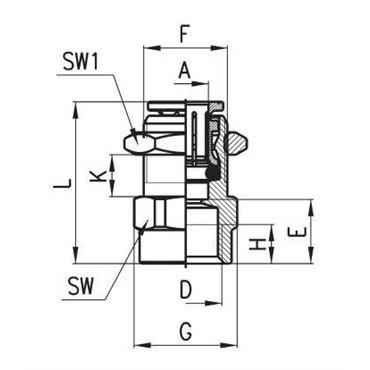 Szybkozłącze wtykowe proste 6593, przewód 6mm, gwint 1/4 - wewnętrzny