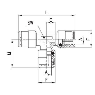 Szybkozłącze wtykowe, trójnik T 6540, przewód 5mm