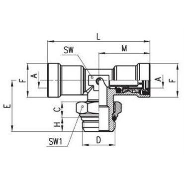 Szybkozłącze wtykowe C-TRUCK, trójnik T 9412, przewód 15/12mm, gwint M16x1,5
