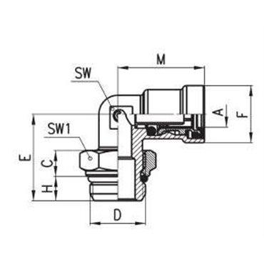 Szybkozłącze wtykowe kątowe C-TRUCK 9502, przewód 6/4mm, gwint M16x1,5