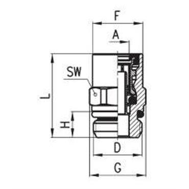 Szybkozłącze wtykowe proste C-TRUCK 9512, przewód 15/12mm, gwint M22x1,5