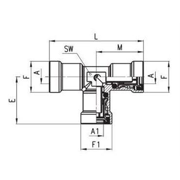 Szybkozłącze wtykowe C-TRUCK, trójnik T 9540, przewód 10/8mm