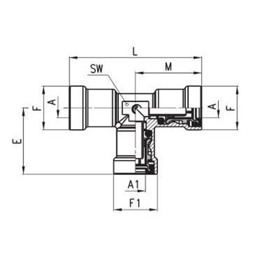 Szybkozłącze wtykowe C-TRUCK, trójnik T 9540, przewód 12/9mm