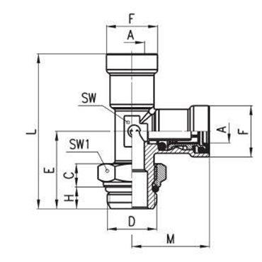 Szybkozłącze wtykowe C-TRUCK, trójnik z bocznym odejściem 9422, przewód 15/12mm, gwint M16x1,5