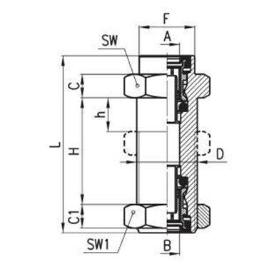 Szybkozłącze obustronnie wtykowe C-TRUCK 9592, przewód 12/9mm, gwint M18x1,0