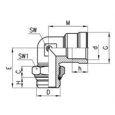 Szybkozłącze gwintowane kątowe C-TRUCK D2022, gwint W-Z.: M16x1,5/M16x1,5