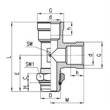 Szybkozłącze gwintowane C-TRUCK, trójnik z bocznym odejściem D2072, gwint W-Z.: M12x1,5/M16x1,5