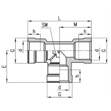 Szybkozłącze gwintowane C-TRUCK, trójnik T D2003, gwint wewn.: M22x1,5