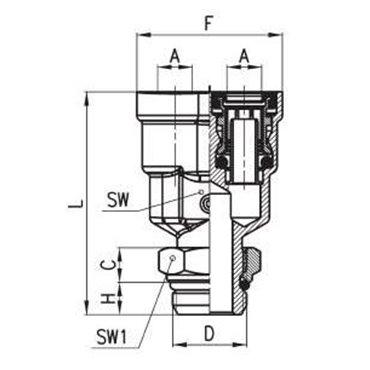 Szybkozłącze wtykowe C-TRUCK, trójnik Y 9450, przewód 8/6mm, gwint M16x1,5