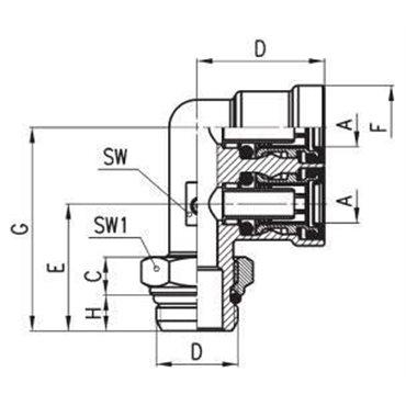 Szybkozłącze wtykowe C-TRUCK, trójnik F 9402, przewód 12/9mm, gwint M16x1,5