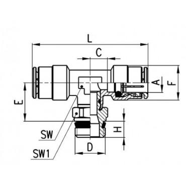 Szybkozłącze wtykowe, trójnik T S6430 Camozzi