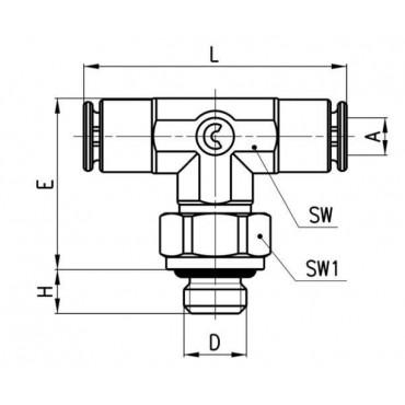 Szybkozłącze wtykowe, trójnik T Micro 6432 Camozzi