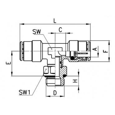 Szybkozłącze wtykowe, trójnik T 6432 Camozzi
