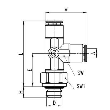 Szybkozłącze wtykowe, trójnik kątowy Micro 6442 Camozzi